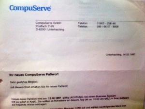 Schreiben von CompuServe vom Feb. 1997