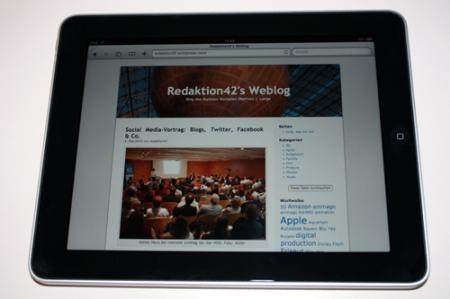 So sieht diese Seite auf dem iPad aus.