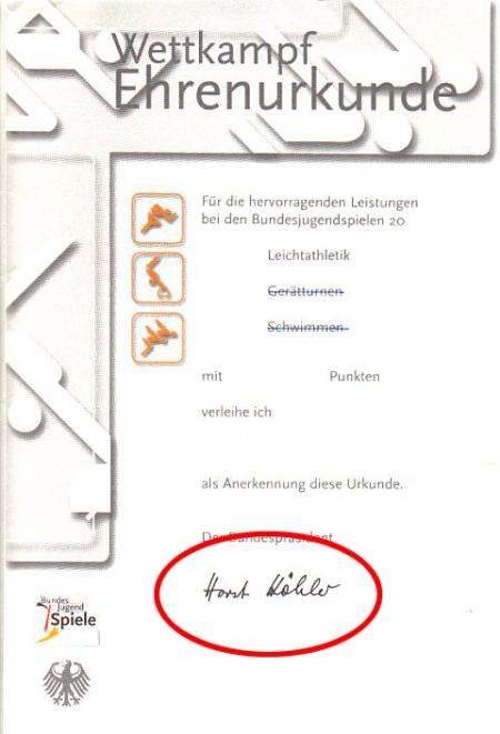 Die Urkunden zu den Bundesjugendspielen mit Köhler-Unterschrift werden nicht mehr ausgegeben.