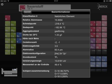 Die App gibt den aktuellen Überblick über die Elemente.