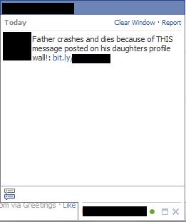 Dieses Chat-Fenster tauchte auf in Facebook.