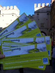 Werbung für Munich Gaming am Stachus