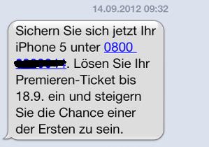 Spinn ich? Die Telekom verschickt eine Sexhotline-Nummer. Nummer hab ich unkenntlich gemacht.