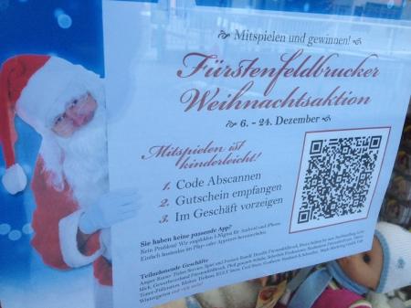 QR-Code scannen und gewinnen - nette Idee des Fürstenfeldbrucker Einzelhandels.