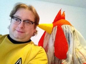 Die Gattin ging als Huhn und ich als Sternenoffizier.