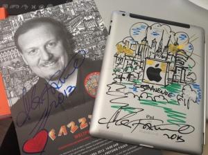 Mein iPad mit einer Zeichnung von Charles Fazzino.