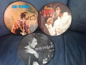 Auswahl meiner Picture Discs: Hendrix, Elvis und Dylan.