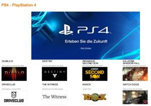 Die neue Landingpage bei Amazon zur PS4.