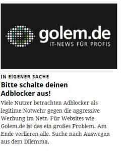 Golem: Bitte keine Adblocker.