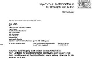 Schreiben des KuMis an die bayerischen Schulen.