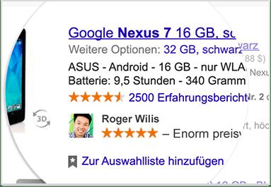 So könnte die Werbung von Google mit deinen Namen aussehen.