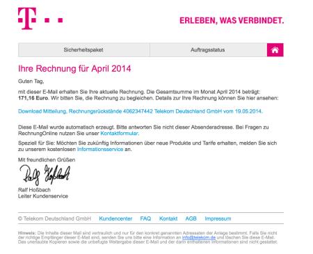 Nicht schlecht gemacht, diese Phishing Mail.