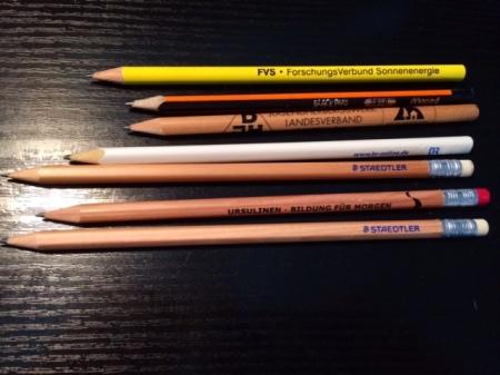 Eigentlich sind diese Bleistifte zu lang.