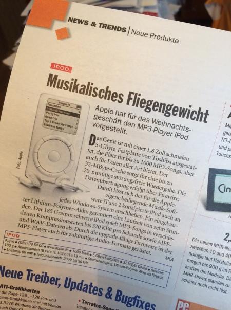 Mein erster Artikel über den iPod - leider nur im Newsteil.