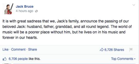 Bekanntgabe des Todes über Facebook