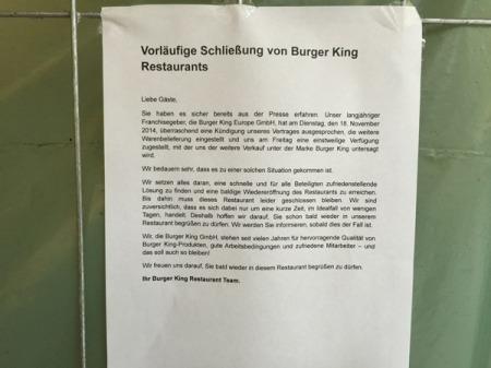 Diese Nachricht gibt es für uns Burger King-Kunden.