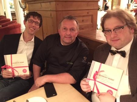 Foodblogger Thomas Gerlach, Sternekoch Michael Fell und Matthias J. Lange.