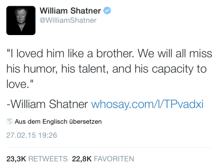 Wilhelm Shatners Kommentar