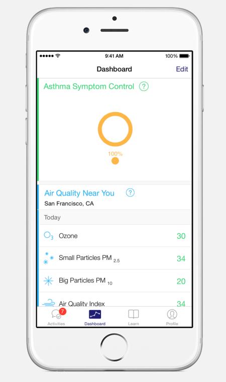 Die Asthma Health App ist so konzipiert, dass sie Schulung und Selbstkontrolle von Asthmapatienten erleichtert.