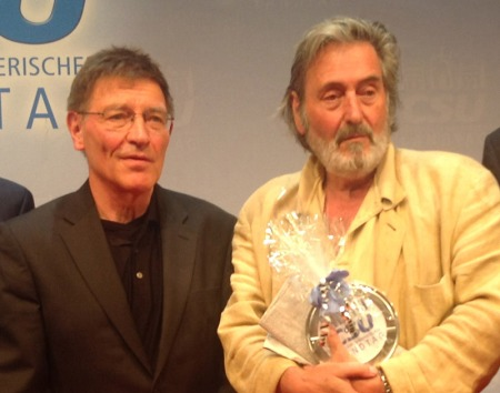 Eberhard Sinner mit Helmut Dietl beim CSU-Filmgespräch.