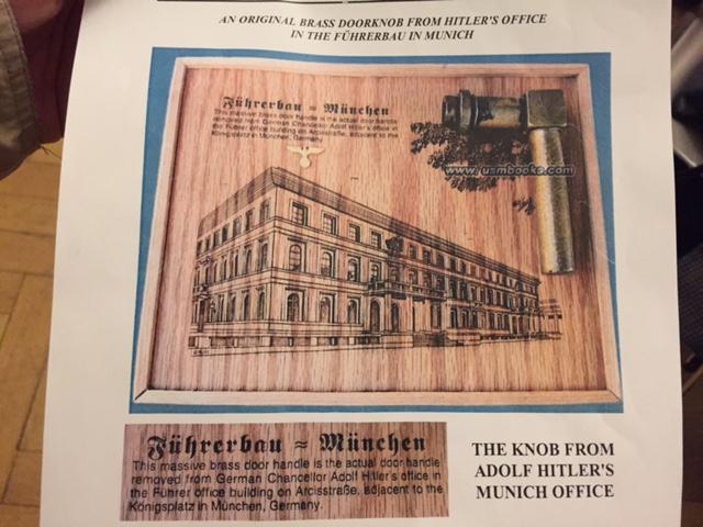 Online-Auktion der Türklinke von Adolf Hitler samt Zertifikat.