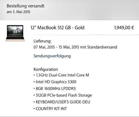 Mein MacBook 2015 ist unterwegs