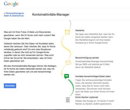 Hier kann man seinen digitalen Nachlass bei Google klären.