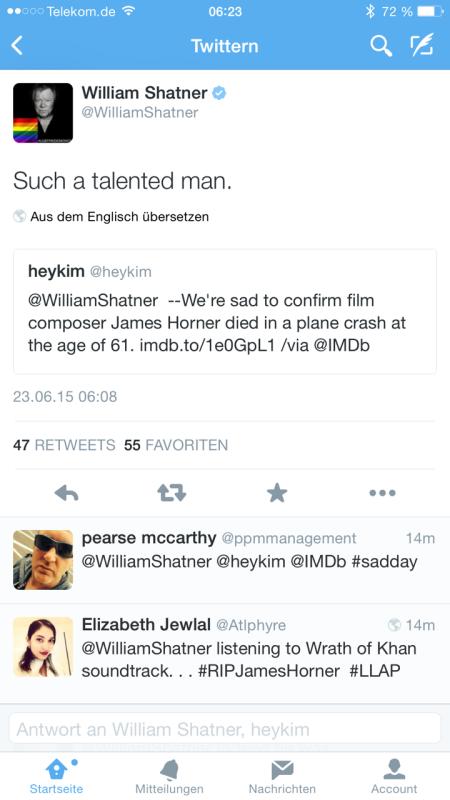 Um 6:22 Uhr erfuhr ich vom Tode Horner via Twitter durch William Shatner.