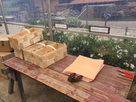 Am Eingang des erstes Gewächshauses liegen Körbchen und Papiertaschen für die Ernte bereit. Gartenscheren gibt es zum Ausleihen.