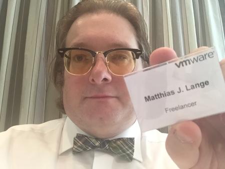 Blogger Matthias J. Lange bei der VMware-Pressekonferenz.