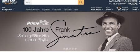 Auch Amazon gedenkt Frank Sinatra.