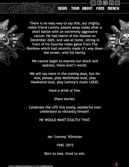 Die Nachricht von Lemmy Tod auf der offiziellen Website. Hört seine Musik laut.