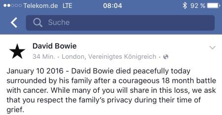 Die Todesmeldung von David Bowie auf der Facebookseite.