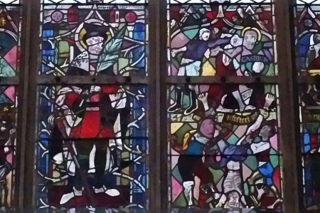 Hitler, Göring und Goebbels auf einem Kirchenfenster in Landshut.