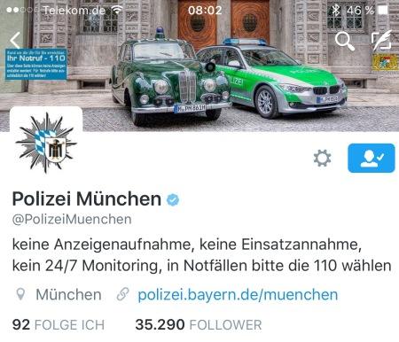 Twittert vorbildlich: Die Münchner Polizei