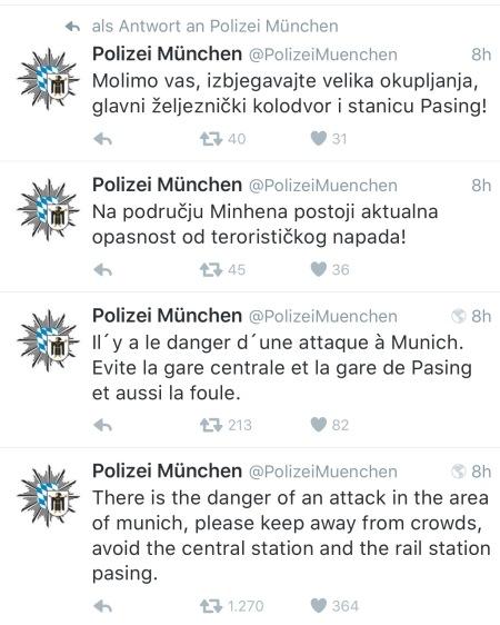 In verschiedenen Sprachen wurde von der Polizei München getwittert.
