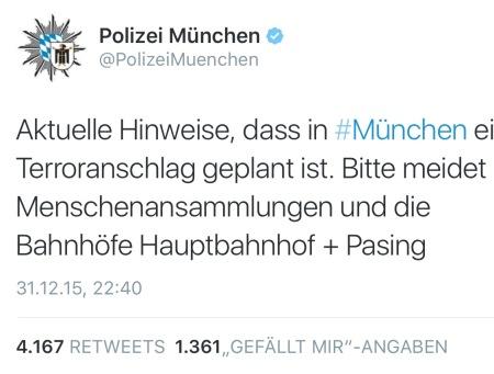Die erste Terror-Warnung der Münchner Polizei über Twitter.
