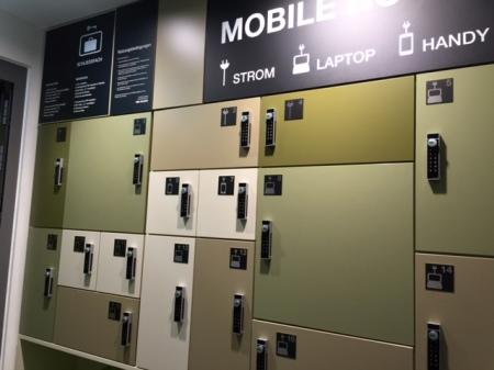 Gute Idee - ein Hotel für Smartphone und Co in den Reim Arkaden in München.