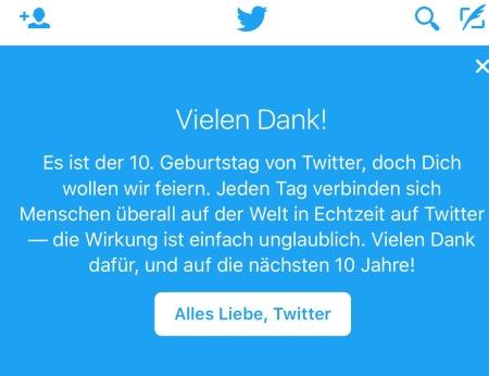 Heute feiert Twitter seinen 10. Geburtstag.