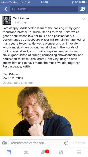 Der Nachruf via Facebook von Carl Palmer über Keith Emserson.