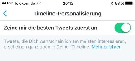 """Filterblase ausschalten: """"Zeige mir die besten Tweets zuerst an"""" deaktivieren."""