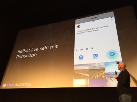 Wie Sascha Welters von Twitter in München beim Trend Day Corporate Video 2016 verriet, wird Periscope voll in Twitter integriert.