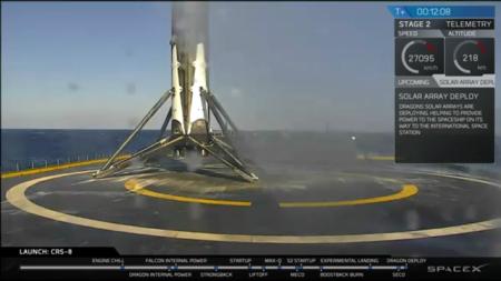 Die Rakete landet wieder. SpaceX ist ein Erfolg.