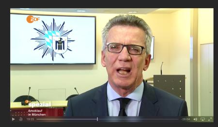 Bundesinnenminister Thomas de Maizieles im ZDF Interview.