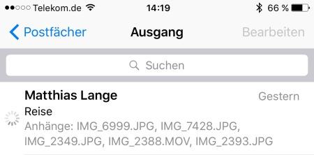 Die Mail hängt und hängt und Apple Mail arbeitet sich einen Wolf.