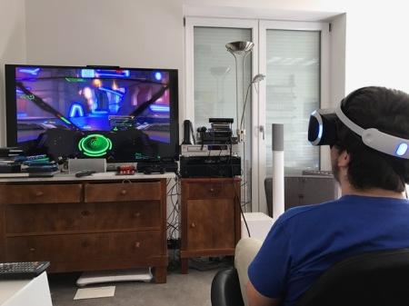 Einsatz der Sony VR Brille an der heimischen Spielkonsole.