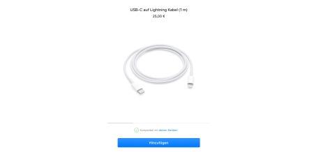 Gerade reduziert auf 25 Euro (!): UBS-C auf Lightning