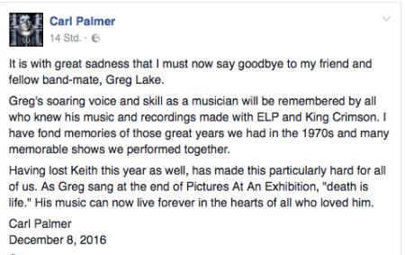 Gedanken von Carl Palmer zum Tode seines Freundes.