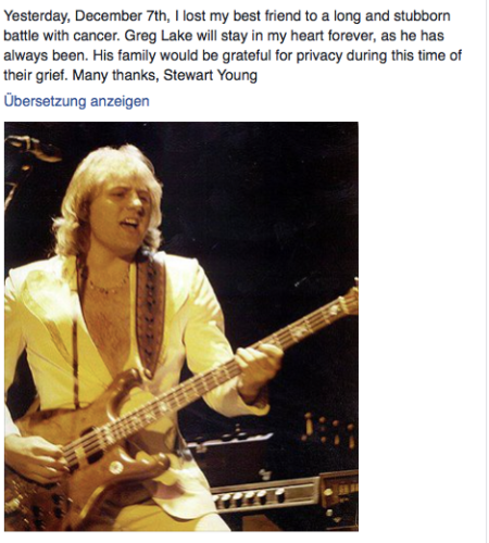 Die Todesmeldung von Greg Lake in Facebook.
