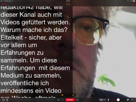 Während ich den Text lese, werde ich gefilmt.